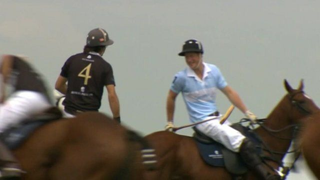 Prince Harry with Argentine opponent Nacho Figueras before game of polo