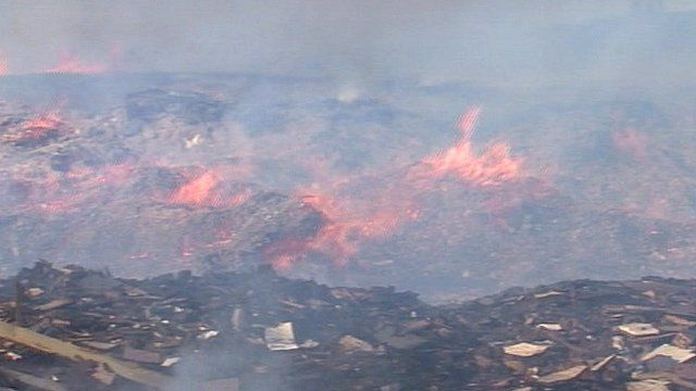 Wood recycling fire at Port Clarence