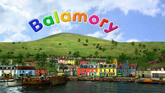 Colourful computer generated scene of harbour of fictional Scottish village of Balamory