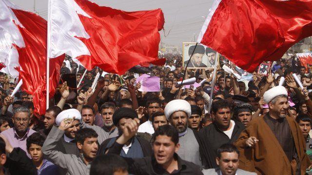 Followers of Shiite cleric Muqtada al-Sadr chant anti-Saudi and Bahraini governments slogans during a demonstration in Basra.