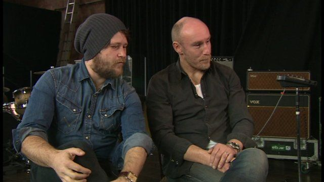 Indie rock band Elbow are interviewed by pupils