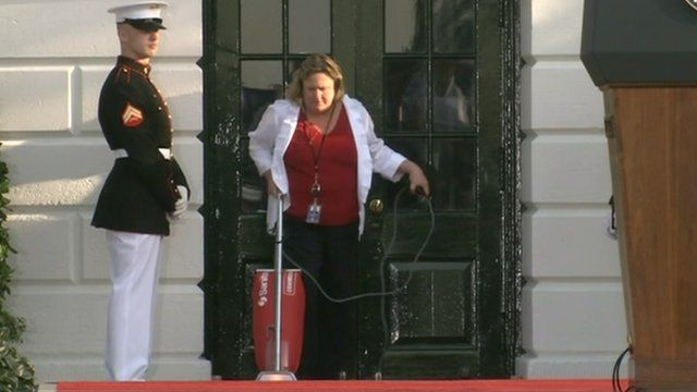 Vacuuming the red-carpet