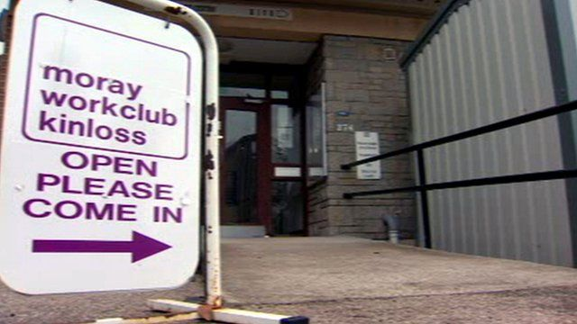 Sign for Moray work club Kinloss