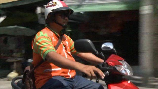 Bangkok motorcycle taxi rider