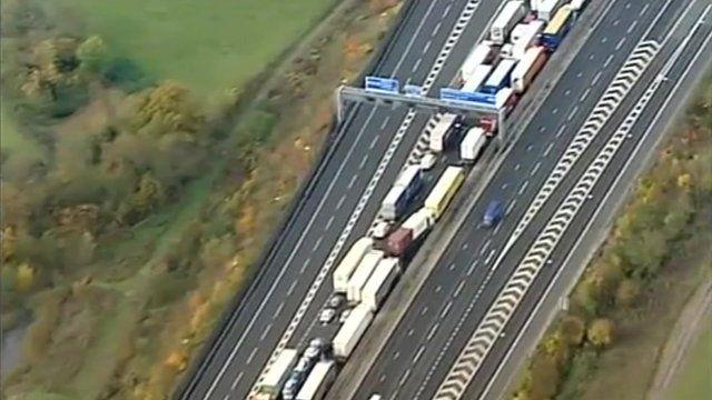 Motorway traffic jam.