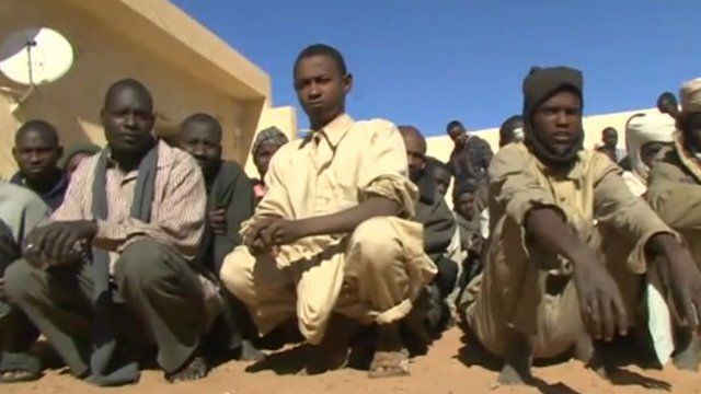 Refugees in the Libyan town of Kufra