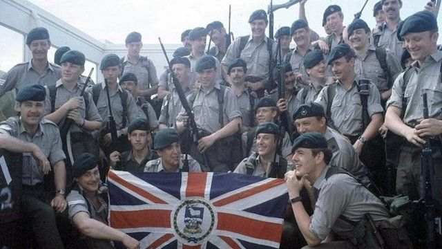 British soldiers preparing to leave for the Falklands