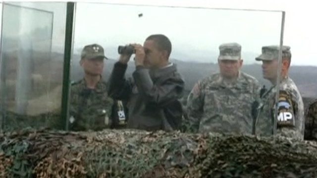 President Obama surveys the DMZ