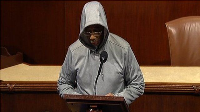 Democratic Congressman Bobby Rush wears a hoodie on the floor of the House, Washington, DC, 27 March 2012