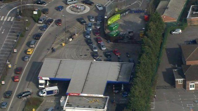 Fuel queues at New Malden