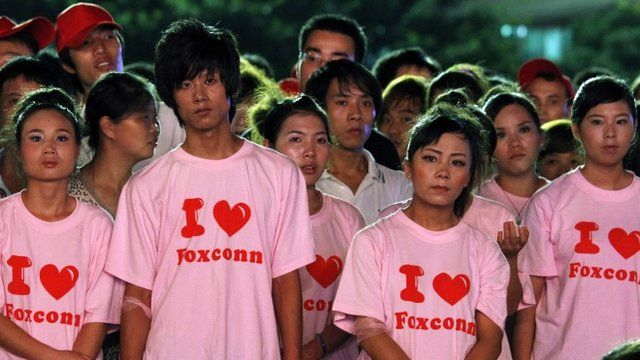 Workers from Foxconn plant in Longhua, Guangdong China
