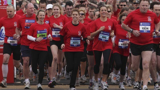 The participants, including Princess Beatrice, raced over a five mile course through the park to the main stadium.