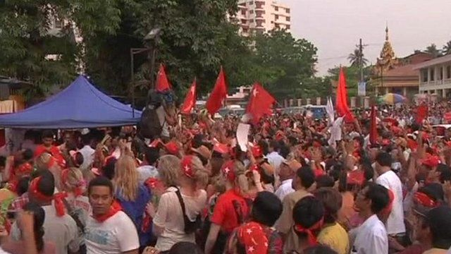 Crowds outside the National League for Democracy headquarters