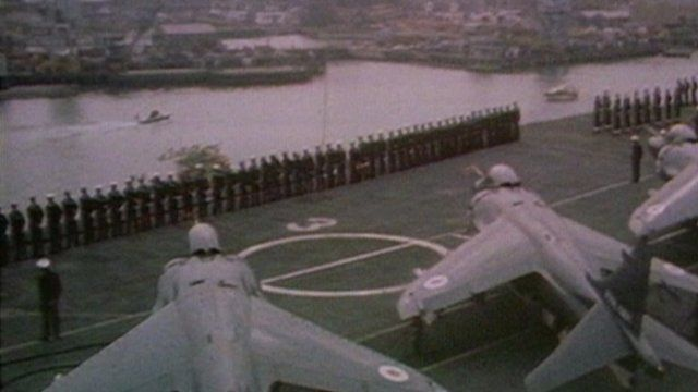 Aircraft and crew on the flightdeck of HMS Invincible, 1982