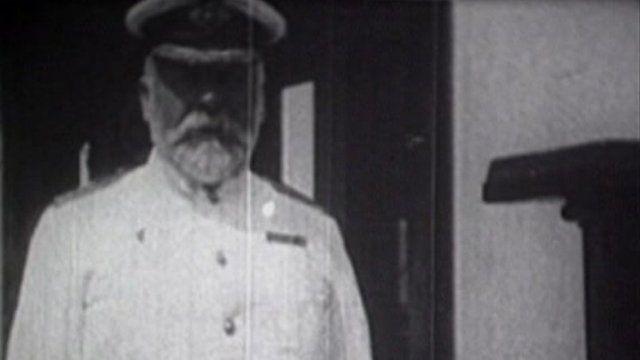 3b076de78e008 Media player Captain Edward John Smith on board the Olympic. Photo   Staffordshire Film Archive