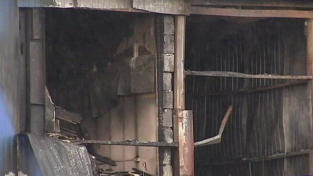 Warehouse fire damaged building in southern Moscow