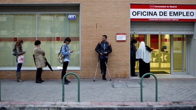 Queue outside the unemployment office in Spain