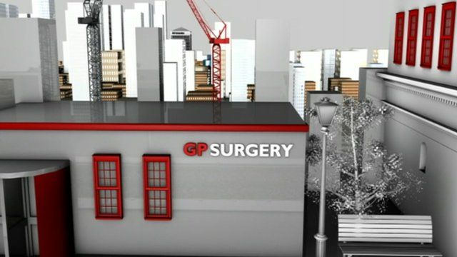 Computer graphic image of a GP surgery