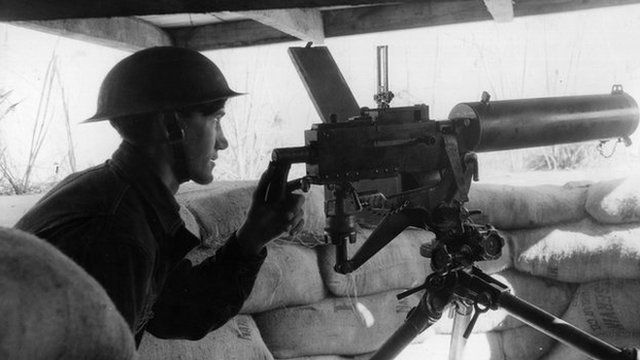 American WWI soldier mans machine gun