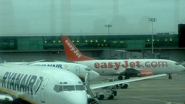 Ryanair and easyJet planes on the tarmac