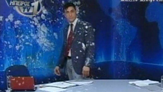 Panagiotis Vourhas covered in eggs and yoghurt on set