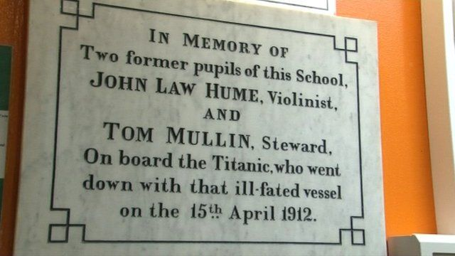 Plaque in St Michael's school to John Law Hume and Tom Mullin