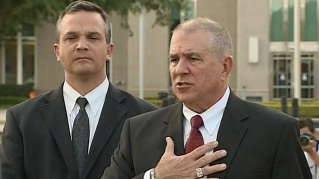 Craig Sonners (left) and Hal Uhrig (right) announce their withdrawal as legal counsel for George Zimmerman, 10 April 2012