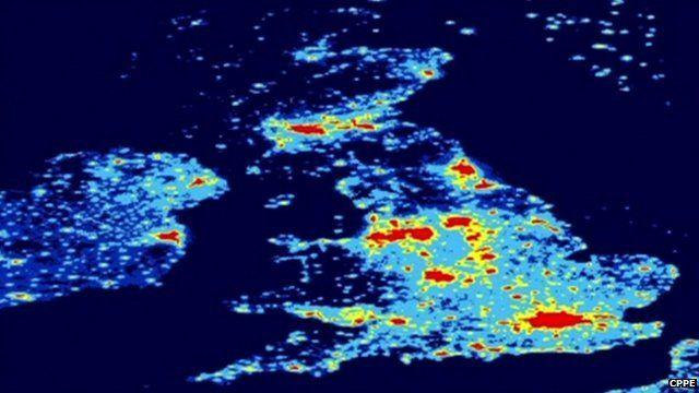 Satellite image of the UK at night