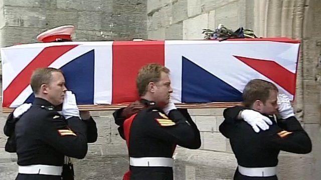 Funeral of Royal Marine Sgt Luke Taylor in Christchurch, Dorset