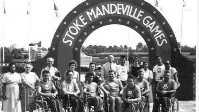 Athletes gathered for the 1948 International Wheelchair Games
