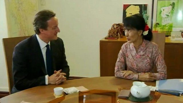 David Cameron and Aung San Suu Kyi