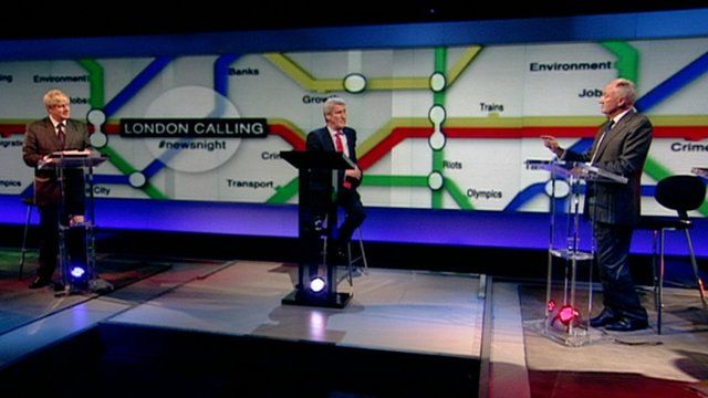 Boris Johnson and Ken Livingstone in a televised debate chaired by BBC Newsnight's Jeremy Paxman