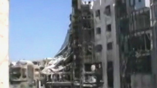 Building damaged by attacks in parts of Syria.