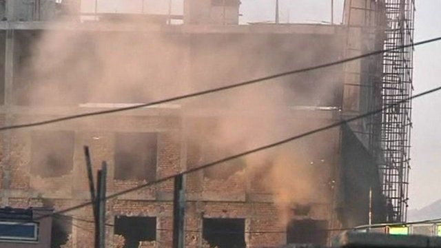 Building damaged by attacks in Afghanistan