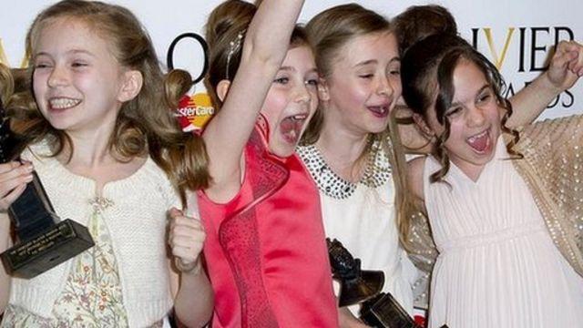 Matilda actresses Sophia Kiely, Eleanor Worthington-Cox, Kerry Ingram and Cleo Demetriou