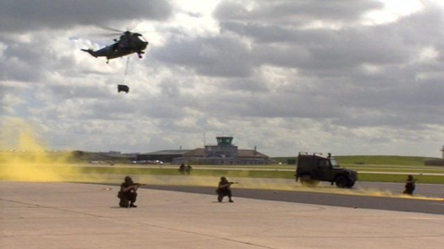Helicopter being used for mock rescue