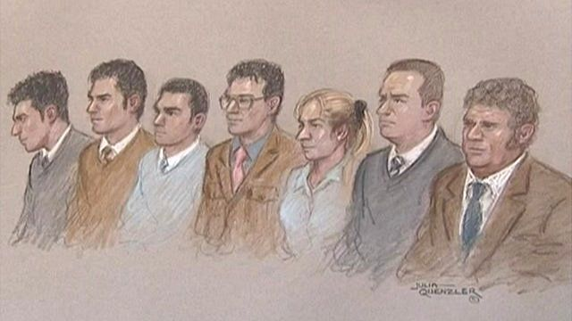 Artist's impression of the seven accused in the dock