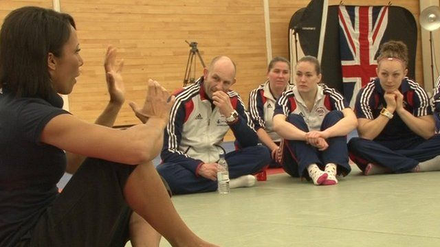 Dame Kelly Holmes with British team judo players