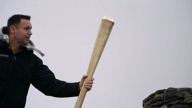Torch being tested on top of Mount Snowdon in Wales