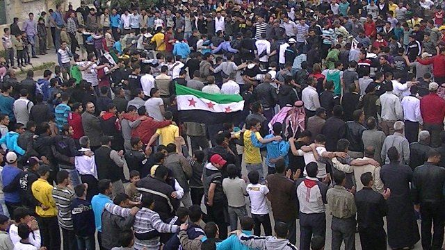 Protesters in Daraa, Syria