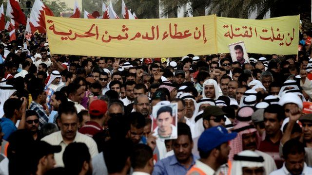 An anti-government demonstration in Manama