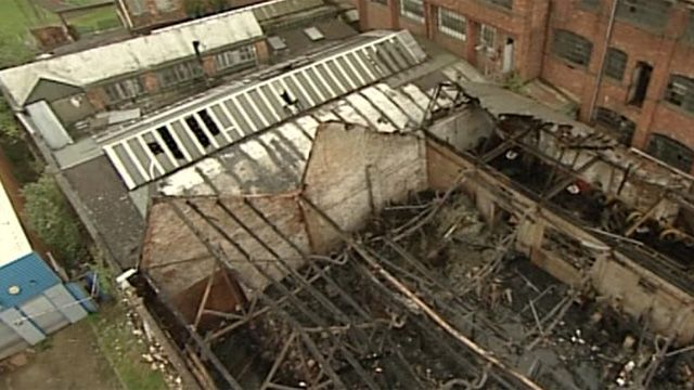Fire damage at Chidlow and Cheshire factory