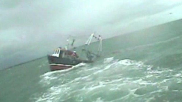 Fishing trawler Sea Bird P283 sinking off the coast of Hampshire