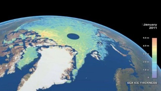 Sea ice coverage revealed in satellite image