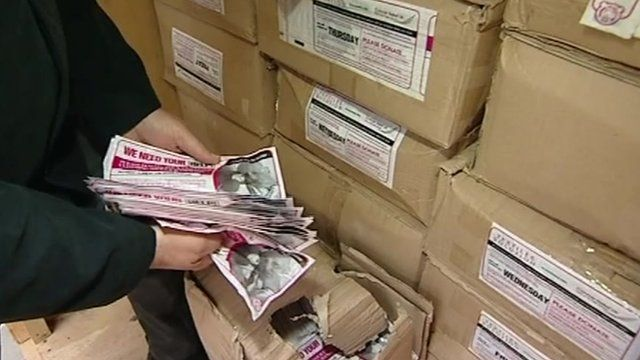 Seized fake charity bags
