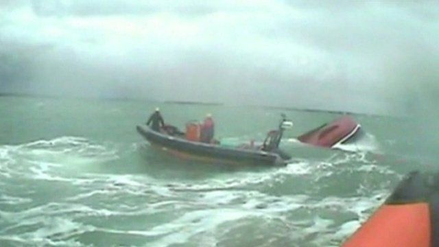 RNLI footage of the ship and rescue