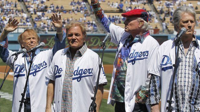 Beach Boys performing at the beginning of a Los Angeles Dodgers game in 2012