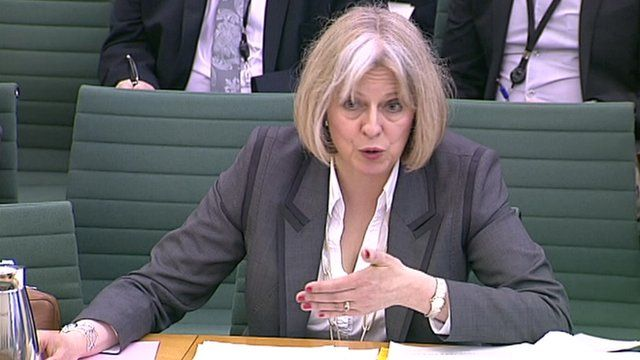 Home Secretary Theresa May giving evidence at the Home Affairs Select Committee on 24 April 2012
