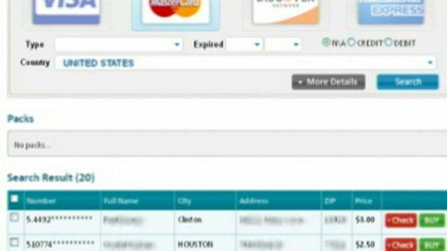 Website selling credit card details