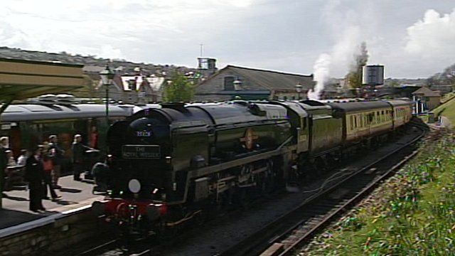 Locomotive arriving at Swanage railway station